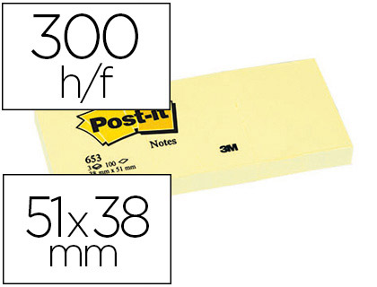 BLOC-NOTES POST-IT 653 51X38MM 100F/BLOC REPOSITIONNABLES COLORIS JAUNE ÉTUI 3 BLOCS