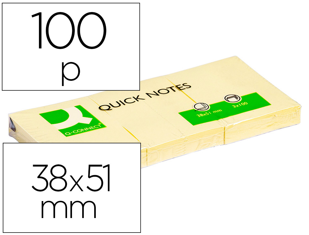BLOC-NOTES Q-CONNECT QUICK NOTES 38X51MM 3 BLOCS 100F REPOSITIONNABLES COLORIS JAUNE