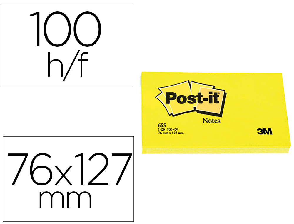 BLOC-NOTES POST-IT 655 76X127MM 100F/BLOC REPOSITIONNABLES COLORIS JAUNE