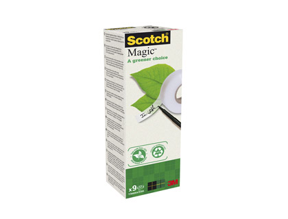 RUBAN ADHÉSIF SCOTCH MAGIC GREEN INVISIBLE RECYCLÉ 19MMX33M TOUR 9 ROULEAUX
